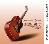 wooden acoustic guitar and... | Shutterstock .eps vector #1016358295