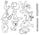 big vector set of cute animals