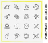 astronomy line icon set... | Shutterstock .eps vector #1016361181