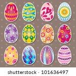 cartoon easter egg stickers   Shutterstock .eps vector #101636497