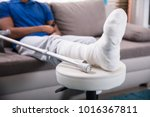 close up of a man's broken leg... | Shutterstock . vector #1016367811