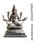 Small photo of an old statuette of hindu deity vishnu isolated over a white background