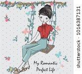 girl on swing  girl... | Shutterstock .eps vector #1016387131