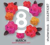 happy 8 march women's day.... | Shutterstock . vector #1016393287