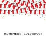 poland flags garland white... | Shutterstock .eps vector #1016409034