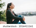 young beautiful girl on the... | Shutterstock . vector #1016411161
