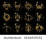 zodiac signs set of horoscope... | Shutterstock .eps vector #1016419231