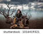 stalker soldier and dog | Shutterstock . vector #1016419321