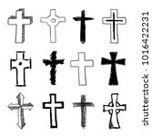 vector doodle christian cross... | Shutterstock .eps vector #1016422231