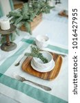 empty plate with branch of...   Shutterstock . vector #1016427955