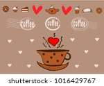 hand drawn set of coffee objects | Shutterstock .eps vector #1016429767