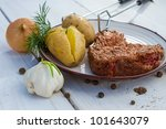 Grilled steak served with potatoes and dill - stock photo