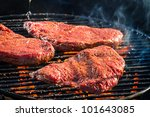 Grilled steak with fire toasted - stock photo