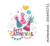 happy carnival  banner template ... | Shutterstock .eps vector #1016431711