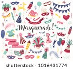hand drawn carnival objects set ... | Shutterstock .eps vector #1016431774