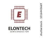 microchip line icon logo. cpu... | Shutterstock .eps vector #1016443669