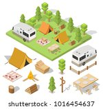 isometric camping and hiking... | Shutterstock .eps vector #1016454637