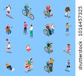 disabled persons isometric set... | Shutterstock . vector #1016457325