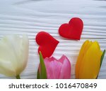 Bouquet Of Colored Tulips On A...
