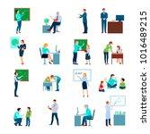 school teacher colored icons... | Shutterstock . vector #1016489215