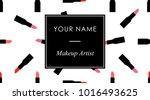 makeup business cards template...   Shutterstock .eps vector #1016493625