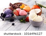 set of ice cream scoops of... | Shutterstock . vector #1016496127