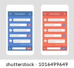 vector phone chat interface | Shutterstock .eps vector #1016499649
