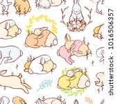 rabbit seamless pattern. vector. | Shutterstock .eps vector #1016506357