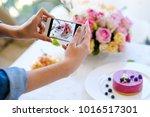 woman blogger smartphone photo... | Shutterstock . vector #1016517301