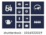 set of 12 agriculture icons set.... | Shutterstock . vector #1016523319