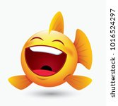 cute laughing fish emoticon ... | Shutterstock .eps vector #1016524297
