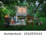 small cinema with drinks and... | Shutterstock . vector #1016554141