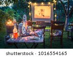 summer cinema with drinks and... | Shutterstock . vector #1016554165