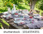 fresh granola with berry fruits ... | Shutterstock . vector #1016554351