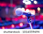 close up microphone on stage in ... | Shutterstock . vector #1016559694