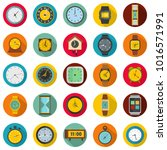 time and clock icons set. flat...