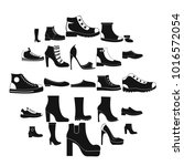Footwear Shoes Icon Set. Simple ...