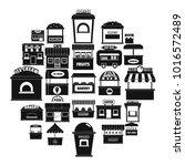 street food kiosk icons set.... | Shutterstock .eps vector #1016572489