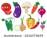 set of vegetables. cartoon... | Shutterstock .eps vector #1016573659