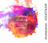 happy holi indian spring...   Shutterstock .eps vector #1016576539