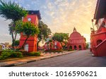 the oriental red building in... | Shutterstock . vector #1016590621