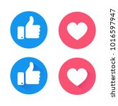 new like and love icons of... | Shutterstock .eps vector #1016597947