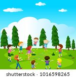 happy kids playing hopscotch in ... | Shutterstock .eps vector #1016598265