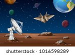 space scene with satellite dish ... | Shutterstock .eps vector #1016598289