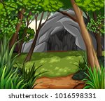 background scene with cave in... | Shutterstock .eps vector #1016598331