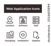 set of vector icons in outline...
