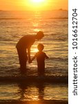 kids and teenagers silhouettes... | Shutterstock . vector #1016612704