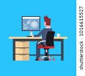 business man sit at office desk ... | Shutterstock .eps vector #1016615527