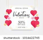 valentines day sale background... | Shutterstock .eps vector #1016622745