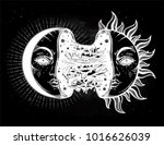moon crescent turning into... | Shutterstock .eps vector #1016626039